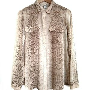 Old Navy Sheer Snake Print Button Down